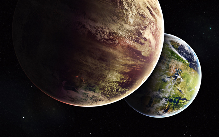 Earth and Mars, planets, solar system, galaxy, sci-fi, universe, Earth from space, Mars, Earth