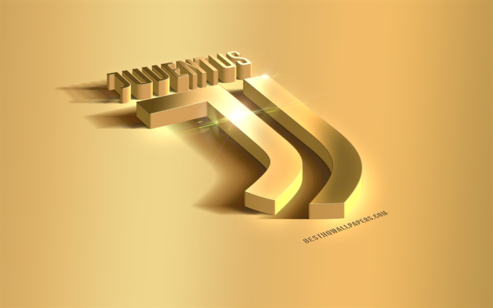 Download Wallpapers Juventus Fc Gold 3d Logo Metal Gold