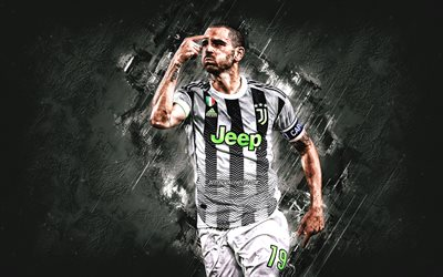 Leonardo Bonucci, Juventus FC, Italian football player, portrait, Serie A, Italy, football, gray stone background