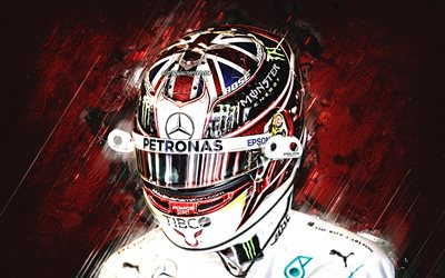 Lewis Hamilton, F1 Driver, World Champion 2019, british race car driver, Mercedes AMG Petronas F1 Team, Formula 1, red stone background