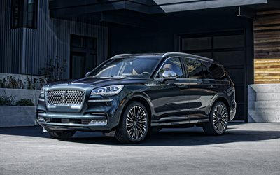 Lincoln Aviator, 2020, front view, luxury SUV, exterior, new blue Aviator, american cars, Lincoln