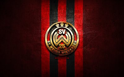 Wehen Wiesbaden FC, golden logo, Bundesliga 2, red metal background, football, SV Wehen Wiesbaden, german football club, Wehen Wiesbaden logo, soccer, Germany