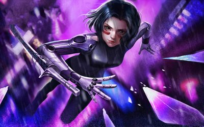 4k, Flying Alita, artwork, 2019 movie, The Alita Battle Angel, Rosa Salazar, cyberpunk, Alita