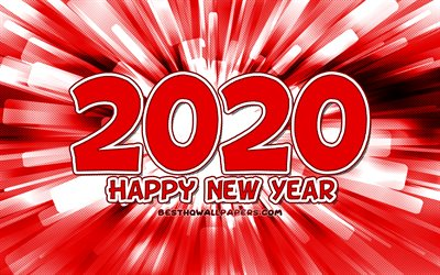 4k, Happy New Year 2020, red abstract rays, 2020 red digits, 2020 concepts, 2020 on red background, 2020 year digits