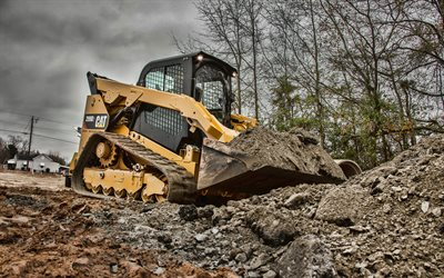 Caterpillar 299D2, 4k, HDR, Compact Track Loaders, construction vehicles, Cat 299D2, special equipment, excavators, Caterpillar