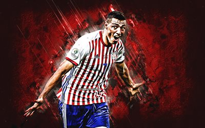 Oscar Cardozo, Paraguayan footballer, Paraguay national football team, portrait, red stone background, football, Paraguay