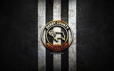 Derby County FC, golden logo, EFL Championship, black metal background, football, FC Derby County, english football club, Derby County FC logo, soccer, England