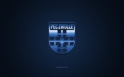 PEC Zwolle, Dutch football club, Eredivisie, blue logo, blue fiber background, football, Zwolle, Netherlands, PEC Zwolle logo