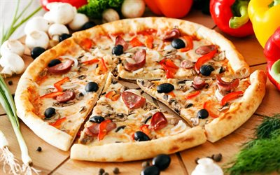pizza, fast food, pizza with sausage and olives, food concepts, background with pizza