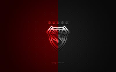 Pohang Steelers, South Korean football club, K League 1, red-black logo, red-black carbon fiber background, football, Pohang, South Korea, Pohang Steelers logo