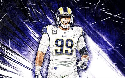 Aaron Donald, grunge art, Los Angeles Rams, american football, NFL, LA Rams, Aaron Charles Donald, blue abstract rays, National Football League