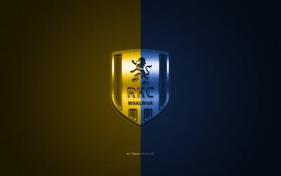 RKC Waalwijk, Dutch football club, Eredivisie, yellow-blue logo, yellow-blue fiber background, football, Valwijk, Netherlands, RKC Waalwijk logo