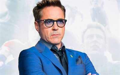 Robert Downey Jr, American actor, portrait, photoshoot, blue jacket