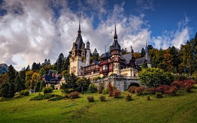 Peles Castle, Neo-Renaissance castle, beautiful castle, forest, green trees, Sinaia, Romania