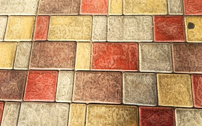 colorful paving stones, 4k, colorful walkway, stone textures, colorful stones, walkway, paving stones textures