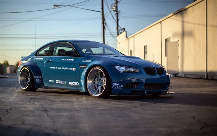Download Wallpapers Bmw M3 E92 Tuning Blue Bmw M3 Blue Drift For