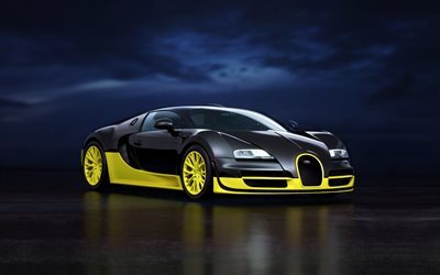 Bugatti Veyron, Super Sport, black and yellow Veyron, hypercar, sports cars, Bugatti