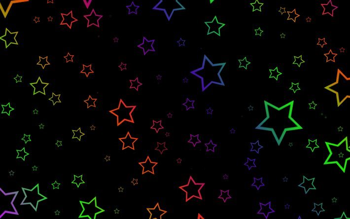 colorful stars, creative, black background
