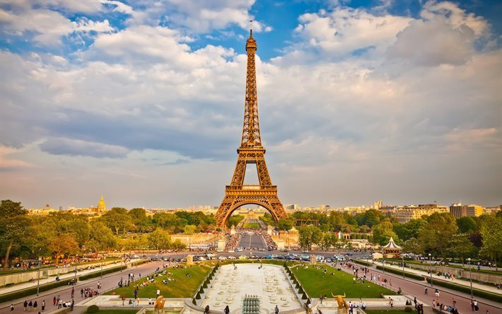Eiffel Tower, summer, evening, Paris, France