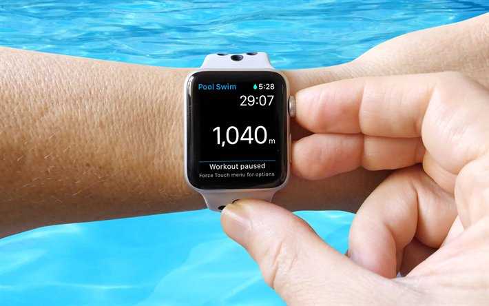 Apple Watch, piscina, 4k, un dispositivo moderno, orologio da polso, allenamento nuoto, Apple