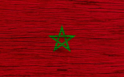 Flag of Morocco, 4k, Africa, wooden texture, Moroccan flag, national symbols, Morocco flag, art, Morocco