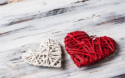 Two hearts, Valentines Day, February 14, romance, woven hearts, red wicker heart