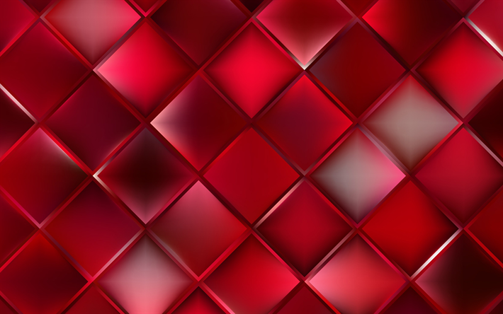 Download Wallpapers Red Rhombuses Red Background Geometry