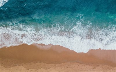 ocean coast, view from above, aero view, waves, ocean