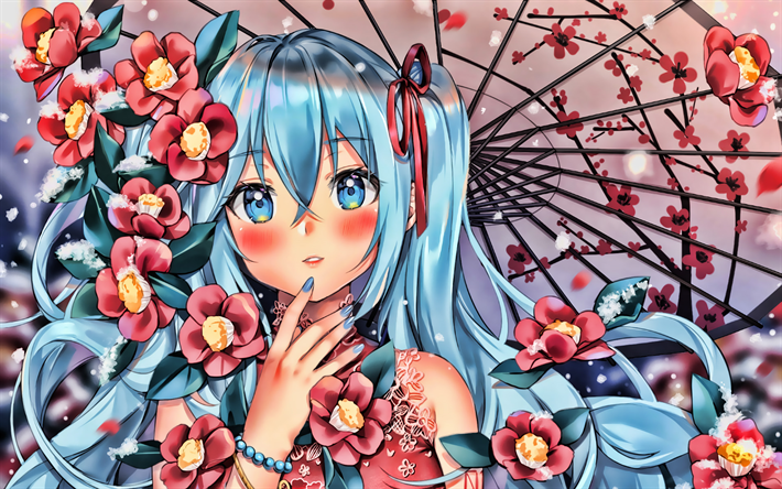 Miku Hatsune with umbrella, sakura, Vocaloid Characters, Hatsune Miku, spring, manga, Vocaloid, girl with blue eyes