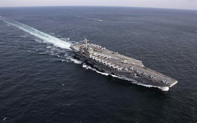 USS Abraham Lincoln, CVN-72, American nuclear aircraft carrier, Nimitz-class, aircraft carrier, US Navy, ocean, warships