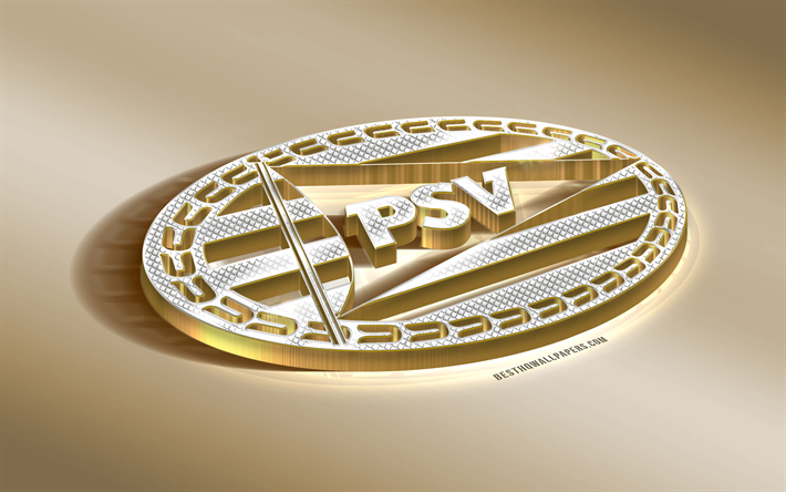 4b8fab6c639 PSV, Philips Sport Vereniging, Dutch football club, golden silver logo,  Eindhoven,