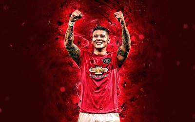 Marcos Rojo, 2020, Manchester United FC, goal, Argentine footballers, Premier League, Faustino Marcos Alberto Rojo, neon lights, soccer, football, Man United