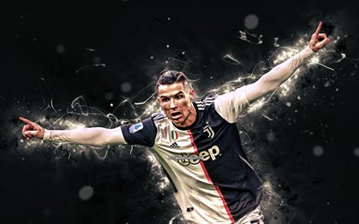 4k, Cristiano Ronaldo, 2020, Juventus FC, goal, new uniform, CR7, Italy, CR7 Juve, portuguese footballers, Bianconeri, soccer, football stars, Serie A