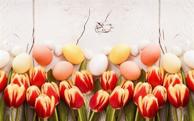 Easter, red tulips, spring, easter decoration