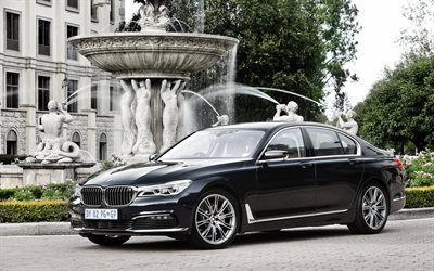 BMW 7-Series, G11, 2017 cars, luxury cars, fountains, BMW