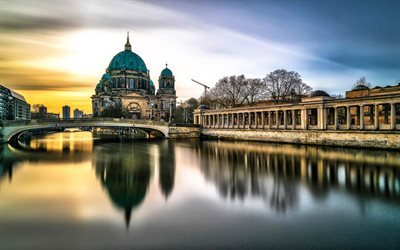 Berlin, bridge, sunset, Berlin cathedral, Museum Island, Germany