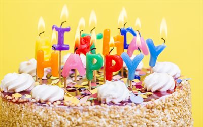 Happy Birthday, burning candles, 4k, cake on a yellow background, birthday cake, sweets, congratulations