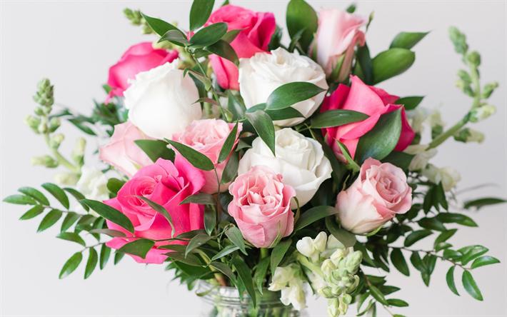 Herunterladen Hintergrundbild Wunderschoner Rosa Blumenstrauss