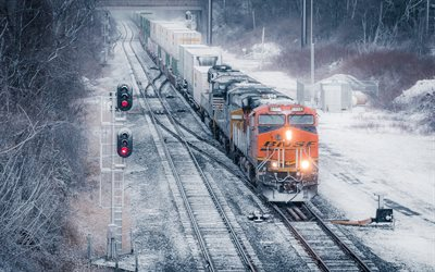 Locomotive, train, container transportation by rail, cargo delivery, train with containers, USA, railway transportation, Pennsylvania