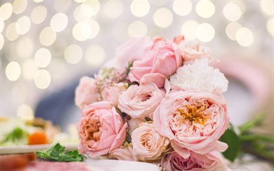 wedding bouquet, pink roses, bokeh, pink flowers, bouquet of roses, roses bouquet