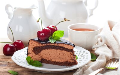 chocolate cake, sweets, chocolate dessert, cakes, cherry cake, tea, white cup