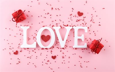 Love, pink background, gifts, love concepts, romance concepts, red glitter heart, romantic greeting card