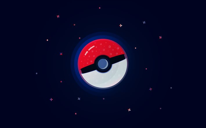 Pokeball, 4k, space, minimal, Pokemon Lets Go, Poke Ball, Monster Ball, Pokemon, Pokeball minimalism, Pokeball 4K