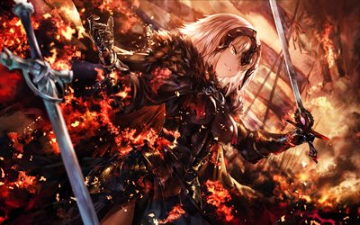 Joan of Arc, fire flames, TYPE-MOON, Fate Grand Order, battle, manga, Jeanne d Arc, Alter, Fate Apocrypha, Fate Series