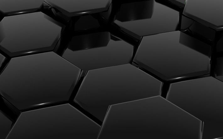 3d black honeycomb, 3d background, black hexagons background, black honeycomb background, glass black honeycomb texture