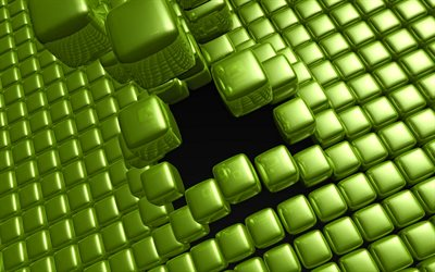 green cubes, 4k, 3D cubes texture, green backgrounds, creative, square textures, 3D squares background