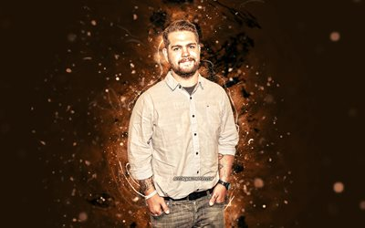 Jack Osbourne, 4k, brown neon lights, english actor, Jack Joseph Osbourne, creative, Jack Osbourne 4K