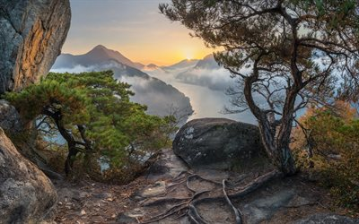 mountain landscape, river, morning, sunrise, fog, mountains, South Korea