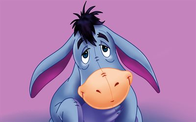 Eeyore, 4k, minimalism, Winnie the Pooh, cartoon donkey, violet backgrounds, Eeyore 4K