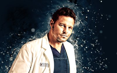 Justin Chambers, 4k, american actor, movie stars, american celebrity, blue neon lights, Justin Chambers 4K